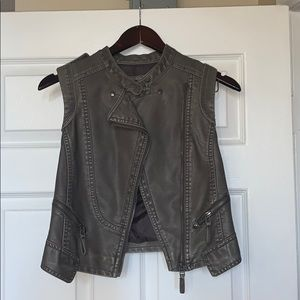 A leather olive green vest.